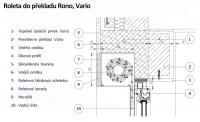 výkres - řez - umístění venkovní rolety do překladu Rono, Vario